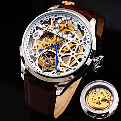 relógio mecânico Automático - da corda automáticamente Couro Legitimo Banda Luxuoso