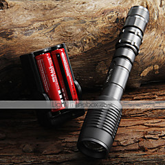 2000lm CREE XML T6 LED di lumen zoombale + 2x18650 batterie + caricabatterie