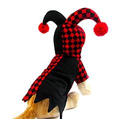 Gatos / Cães Fantasias / Camisola com Capuz / Vestidos Vermelho Primavera/Outono Xadrez Fantasias / Dia Das Bruxas