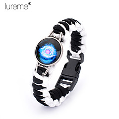 Lureme®  Europestyle Brief White Intertwine Black Weave Parachute Cord Blue Starry Sky Time Gem Alloy Bracelet