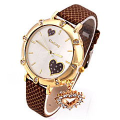 Double Love Dial PU Leather Watchband Wristwatch For Women (Brown)(1Pc)