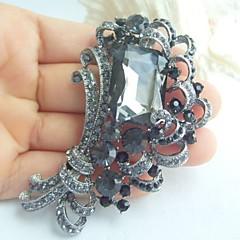 kvinder tilbehør sort grå rhinestone krystal broche buket art deco blomst broche kvindelige smykker