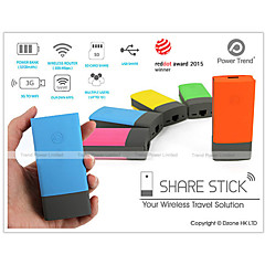 Power Trend Share Sticks WiFi Wireless Router Media Drive Storage SDHC USB and 5200mah Power Bank