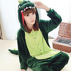 Kigurumi Pajamas Dinosaur Leotard/Onesie Halloween Animal Sleepwear Dark Green Patchwork Polar Fleece Kigurumi UnisexHalloween /