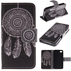 White Dreamcatcher Pattern PU Leather Full Body Cover with Stand and Money Holder for iPhone 4/4S