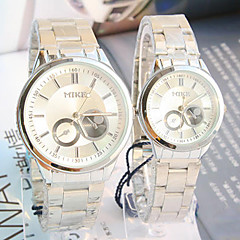 Couple's New Explosion Round Dial Steel Strap Waterproof Quartz Watch