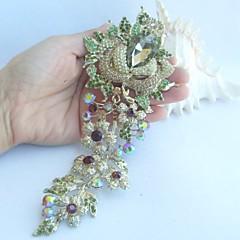 Women Accessories Gold-tone Topaz Rhinestone Crystal Rose Flower Brooch Wedding Deco Crystal Brooch Bridal Bouquet