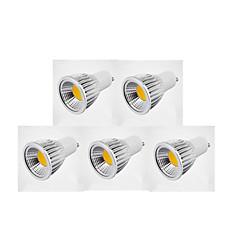 7W GU10 LED ضوء سبوت MR16 1 COB 600 lm أبيض دافئ / أبيض كول / أبيض طبيعي مضاء AC 220-240 / AC 110-130 V 5 قطع