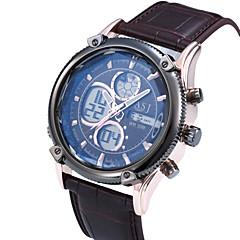 nouvelle mode double fuseau horaire mens de la bande de cuir de l'alarme agenda la date lcd jour le sport robe poignet quartz Digtal