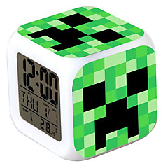 Minecraft 7 Color Change Digital Alarm Clock LED Thermometer Night Colorful Glowing Toys