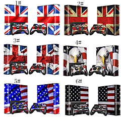 Flag Body Sticker Decal Skin for Microsoft Xbox 360E Console+2 Free Controllers Skins