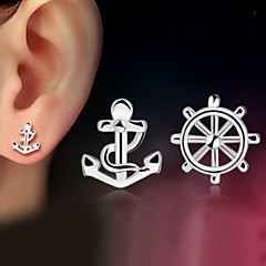 2016 Korean Unisex 925 Silver Sterling Silver Jewelry Earrings Anchor Stud Earrings 1Pair