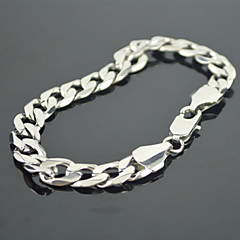 Toonykelly Fashion 21CM Men's Stainless Steel Silver Link Bracelet(Silver)(1PC)