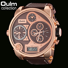 OULM® Men's Three Time Zones Military Watch Japanese Quartz Analog & Digital Leather Strap