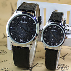 Couple's Round ultrathin Dial Digital PU Band Quartz Fashion Watch