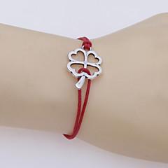 Dames Lederen armbanden Uniek ontwerp Modieus Met de hand gemaakt Verzilverd Liefde Klavertje vier Rood Blauw Sieraden VoorFeest