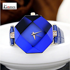 Ladies' Summer Style Diamond Cutting Leather Band Quartz Wrist Watch