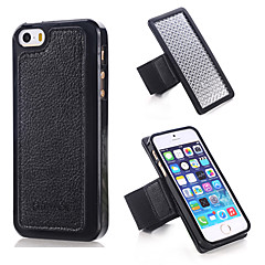 Specially Designed Combination TPU+Genuine Leather+Nylon Wrist Strap Back Cover for iPhone 5/5S