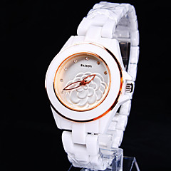 Women's New Round Crystal Scale Ceramic Dial Flower Pattern Ceramic Band Fashion Quartz Watch (Assorted Colors) Cool Watches Unique Watches