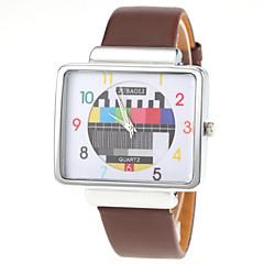 Unisex TV Pattern Square Silver Case PU Band Quartz Wrist Watch Cool Watch Unique Watch