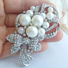 bryllup tilbehør sølv-tone perle rhinestone krystal brude broche bryllup deco blomst broche buket brude smykker