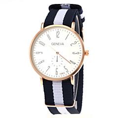 reloj de pulsera de cuarzo caja de oro correa de tela unisex informal