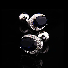Toonykelly® Fashion Silver Plated Black Crystal Rhinestone Handsome Shirt Cufflink(1 Pair)