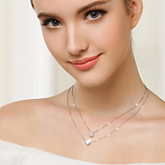 925 Sterling Silver Heart Pendant Double Clavicle Necklace (silver)