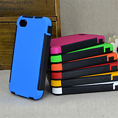 2 in1 Hybrid High Impact Hard Silicone Case for iPhone 4/4S  (Assorted Color)