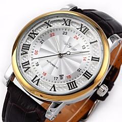 WINNER® Men's Auto-Mechanical Dress Watch Black PU Leather Band Wrist Watch Cool Watch Unique Watch
