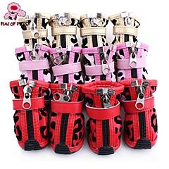 Gatos Perros Zapatos y Botas Casual/Diario Invierno Primavera/Otoño Bloques Rojo Rosado Dorado Cuero PU