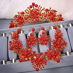 2015 Korean Bride Jewelry Red White Pearl Necklace Earring Headwear Three Set Wedding Accessories