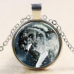 Fashion Simple Style Retro Moonlight Time Gem Chain Alloy Wolf Totem Pendant Necklace