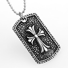 acero estilo cruz de titanio forma europeo al por mayor colgante cruz caliente de las ventas para los hombres (plata) (1pc)
