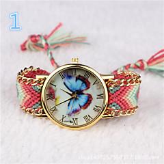 les femmes Montre bracelet papillon coloré tissé montre de bohème