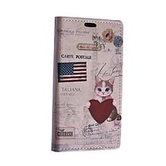 Για Θήκη Nokia Πορτοφόλι / Θήκη καρτών / με βάση στήριξης tok Πλήρης κάλυψη tok Γάτα Σκληρή Συνθετικό δέρμα Nokia Nokia Lumia 640