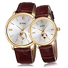 EYKI World Map Gold Brand Watch Women & Men's Fashion Casual Coffee Genuine Leather Straps Quartz Watches Lovers Couple Cool Watches Unique Watches