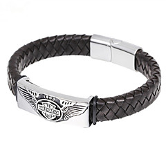 Toonykelly Fashion 21CM Men's Stainless Steel Black Leather Wing Fly Men Bracelet(1PC)
