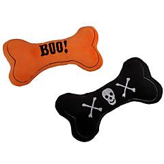 고양이 장난감 강아지 장난감 반려동물 장난감 플러시 장난감 찍찍 소리를 내다 뼈 할로윈 직물 블랙 오렌지
