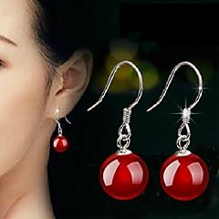 Women's Cute Natural Agate Silver Long Drop Earrings