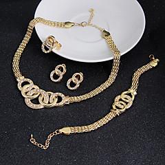 Mulheres Conjunto de Jóias Brinco Pulseira Bijuterias Destaque Vintage bijuterias Zircônia Cubica Formato Circular Colares Brincos Anéis