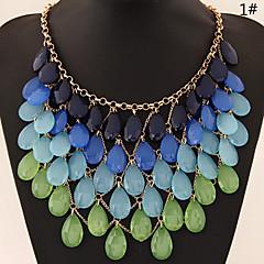 European Style Fashion Wild Gradient Color Droplets Temperament Necklace