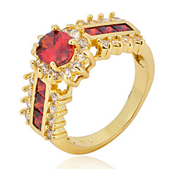 Size 6/7/8/9/10/11 High Quality Women Red Sapphire Rings 10KT Yellow Gold Filled Ring
