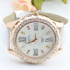 Women's Round Gold Case Roman Number Dial PU Band Analog Quartz Wrist Watch Cool Watches Unique Watches