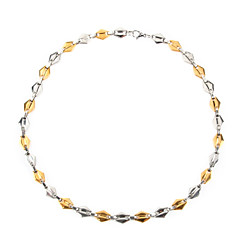 Fashion Stainless Steel 18K Gold-plated Two-Tone Men's Chain Necklace – Silver + Gold