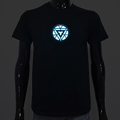 Rechargeable Battery Included Light Up LED EL T-shirt Iron Man 3 Adjustable Sound Activated and Multiple Flash Modes