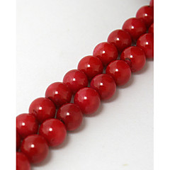 Beadia 38Cm/Str (Approx 55PCS) 7mm Round Red Coral Beads Dyed Red Color Coral Loose Beads DIY Accessories