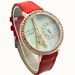 diamante de las mujeres esfera redonda con la torre Eiffel reloj ocasional de la PU de cuarzo analógico banda