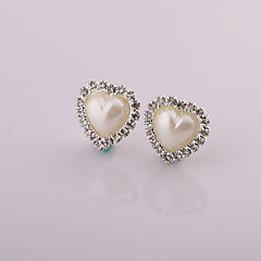 Fashion New Style Heart  Pearl/Rhinestone Earring Clip Earrings Wedding/Party/Daily/Casual 2pcs