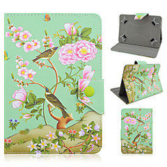 Floral and Bird Pattern High Quality PU Leather with Stand Case for 7 Inch Universal Tablet